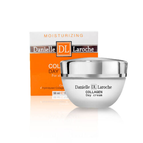 White and orange packaging and jar of cosmetics on white backroung