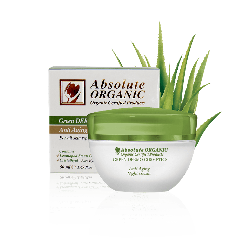 Jar and packaging box of organic night cream and aloe vera behind