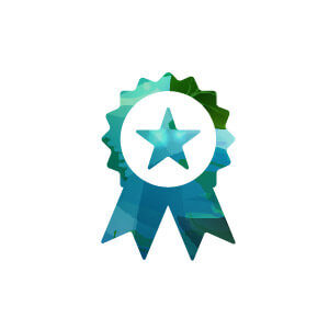 green and blue icon for certification