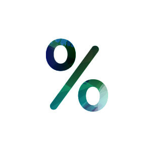 green and blue icon for sales percentage